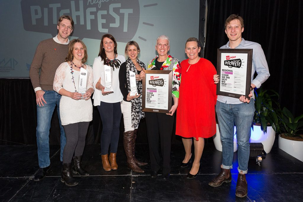 All of the winners from SA with Pitch Fest Founder Di Somerville