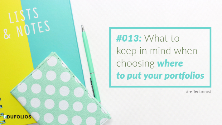 A pile of notebooks and a pen. The caption reads: What to keep in mind when choosing where to put your portfolios